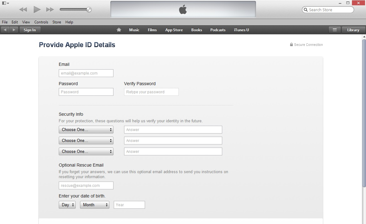 Provide Apple ID Details