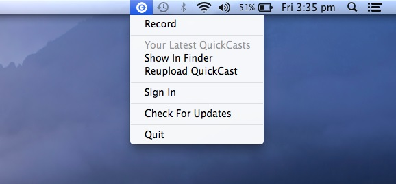 Quickcast Icon on MAC Toolbar