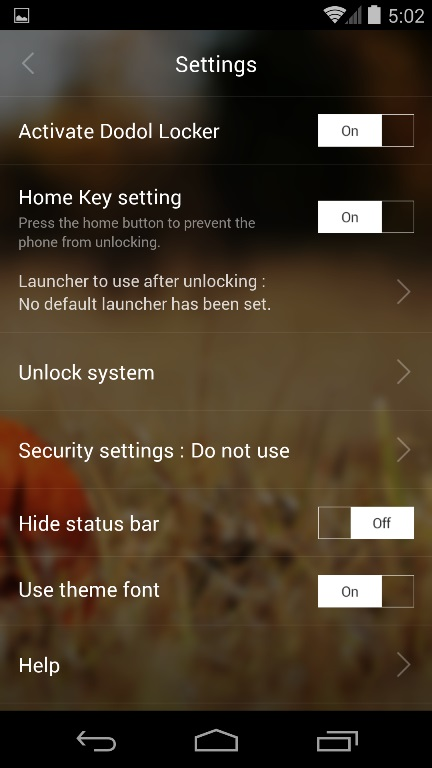 Dodol Locker Settings