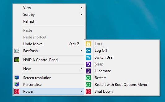 Power Buttons On Windows 8 Right Click