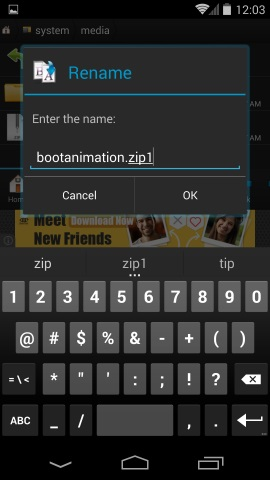Rename Bootanimation file