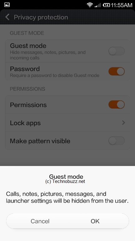 how to use guest mode on xiaomi mi3 to hide personal info