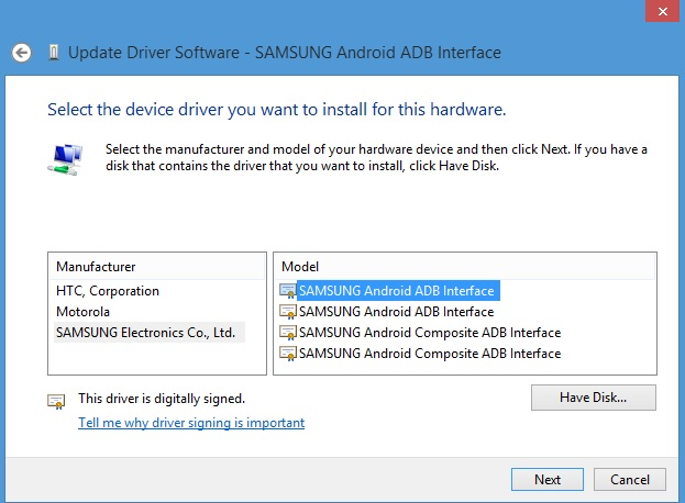 Select-Samsung-ADB-Interface