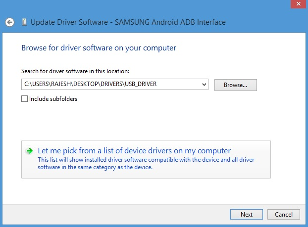 Select USB drivers