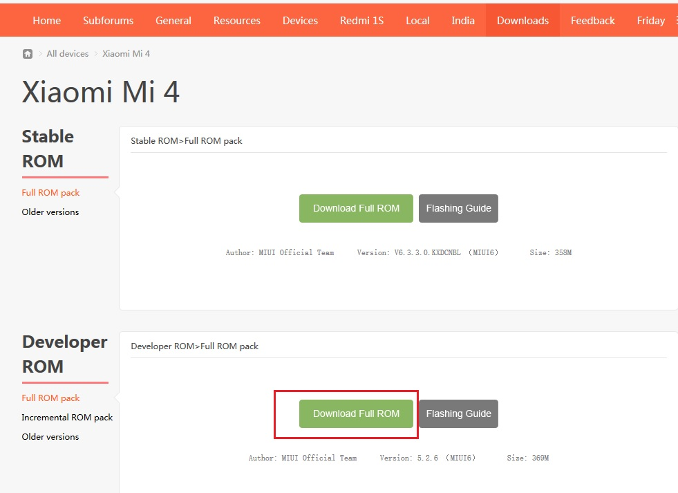 Download MI4 Developer ROM