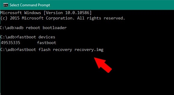 fastboot flash recovery recovery