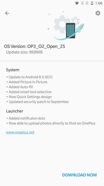 Oneplus 3 Android OREO update