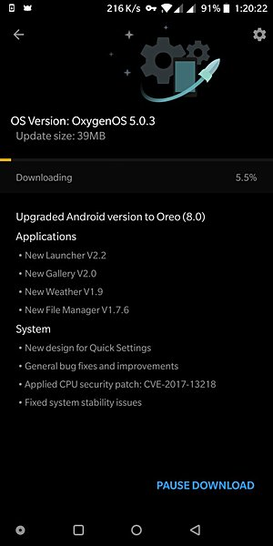oneplus 5t Oreo Features