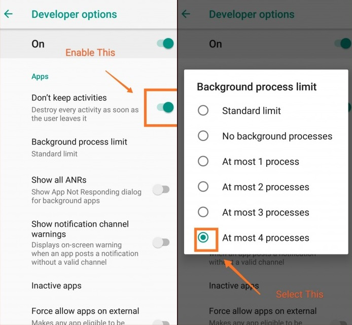 Change Background Process Limit in Mi a1