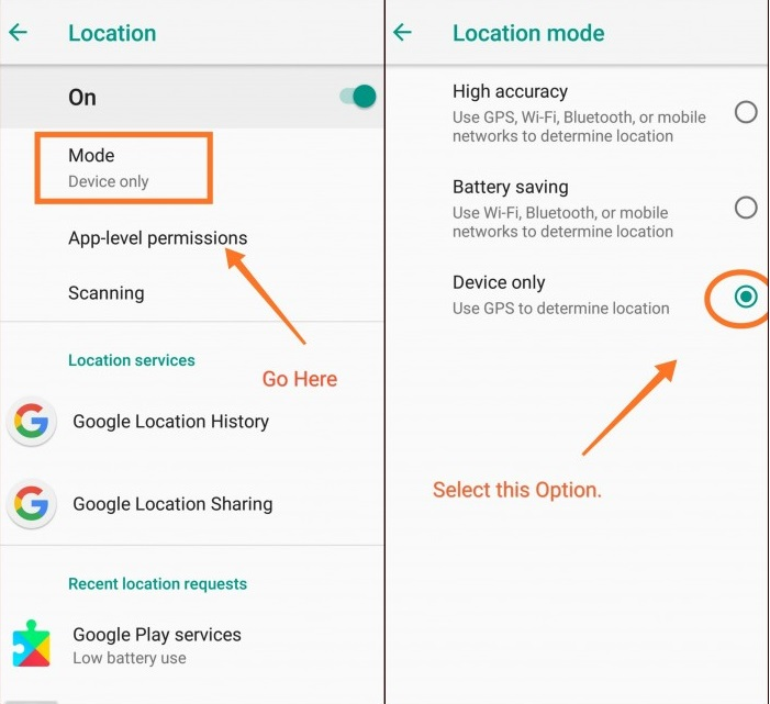Set Location Mode To - Device only