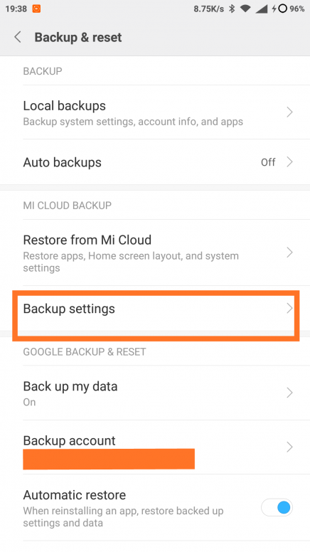 Backup Settings MIUI 9