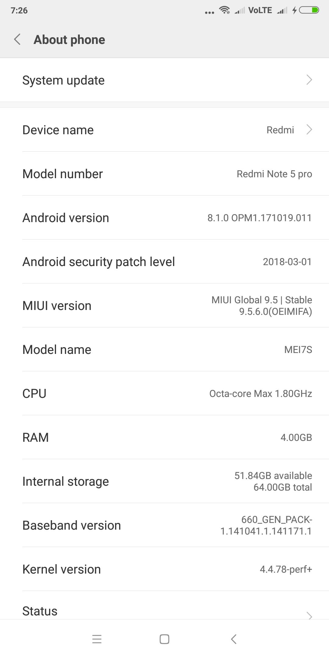Download RedmI Note 5 Pro 8.1 OREO MIUI V9.5.11.0.OEIMIFA [OFFICIAL ROM]