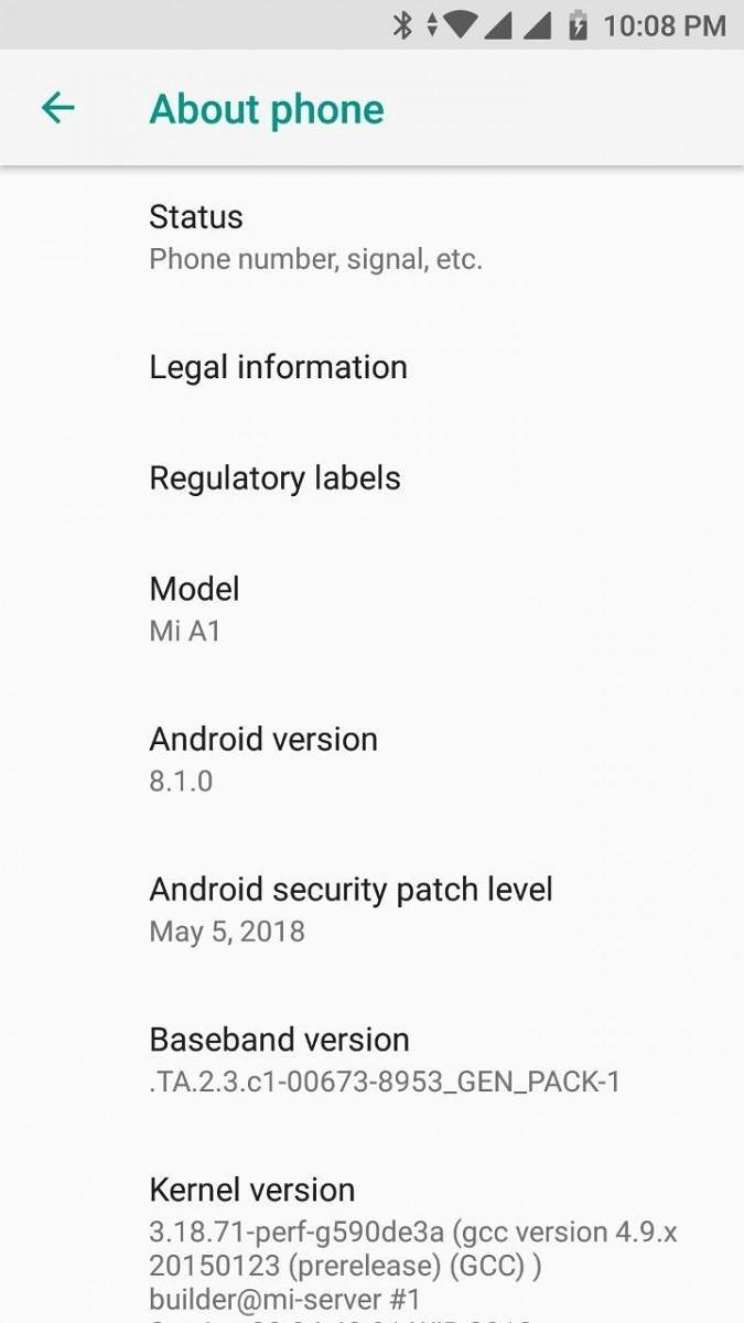 MI a1 Android 8.1 OREO