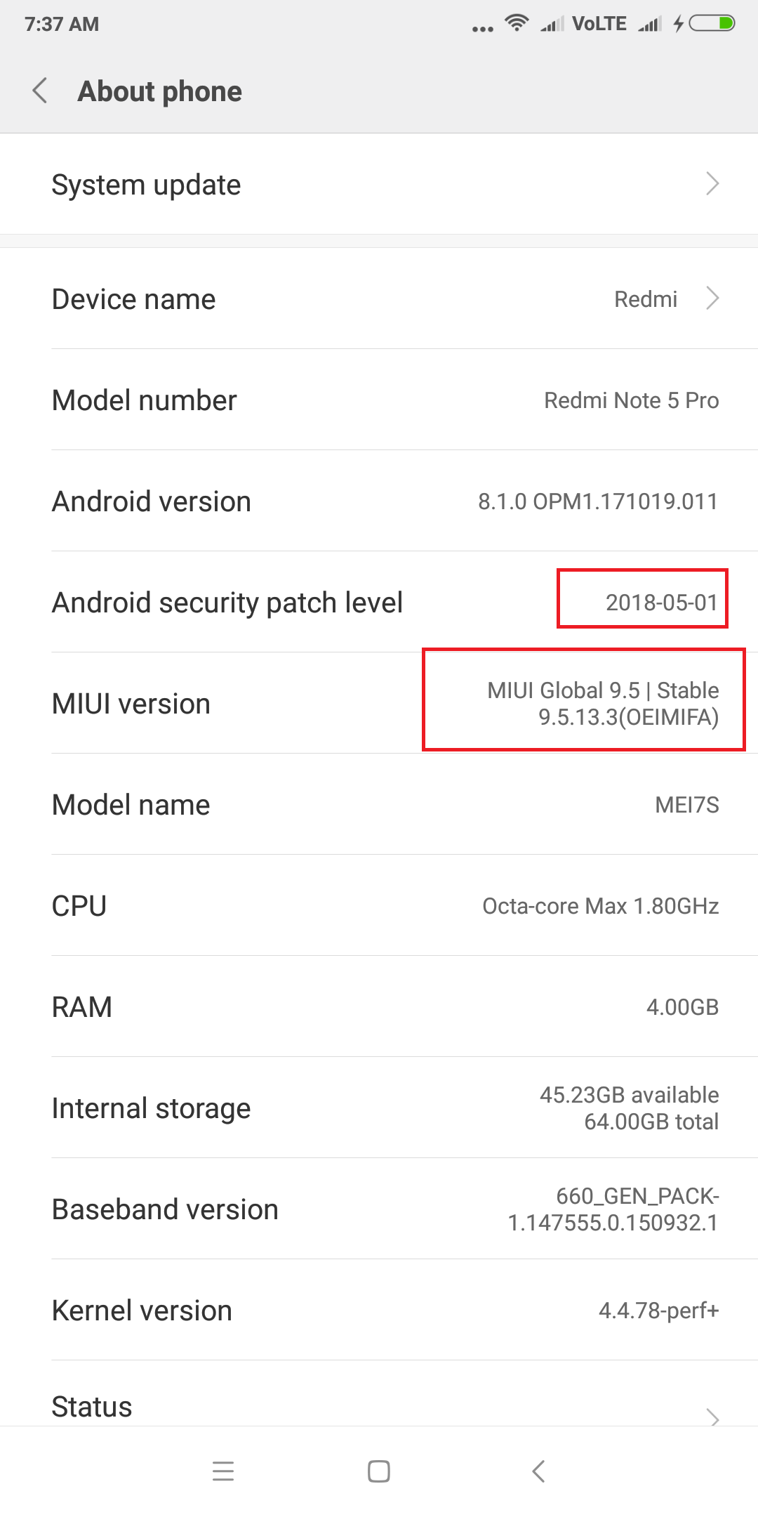 Download MIUI 9 9.5.13.3 on Redmi Note 5 PRO