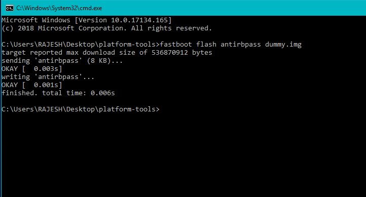 fastboot flash antirbpass dummy.
