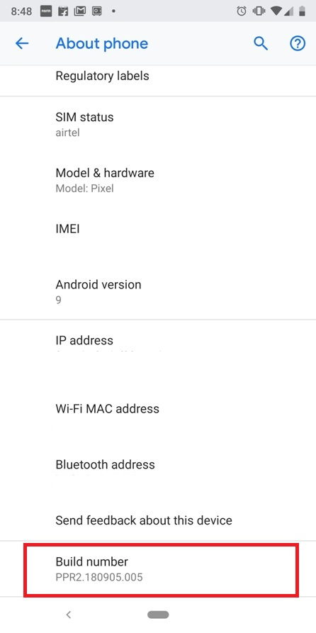 Google-pixel-3-Developer-Options